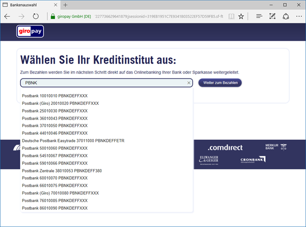 Giropay Deutsche Bank