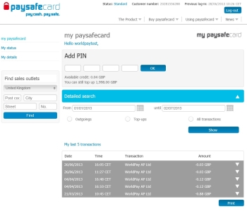 My Paysafe Account